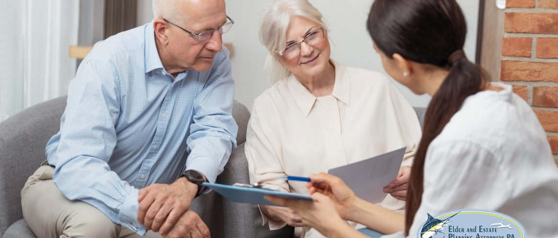 elder care attorney - Elder law attorney reviews legal documents with mature couple